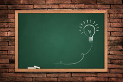 Drawing of a bulb idea on green board. On wall background stock illustration