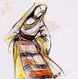Drawing of Bulgarian folklore dress Stock Photos