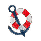 drawing buoy anchor nautical travel maritime Royalty Free Stock Images