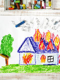 Drawing: burning house Royalty Free Stock Photography