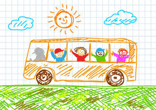 Drawing of bus Royalty Free Stock Images