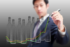 Drawing business bottles growth chart concept Stock Images