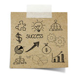 Drawing business chart note taped recycle paper Royalty Free Stock Photography