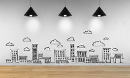 Drawing business concept, city skyline Royalty Free Stock Photography