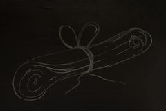 Drawing business concept idea on black board background. Royalty Free Stock Images