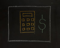 Drawing business concept idea on black board background. Royalty Free Stock Photography