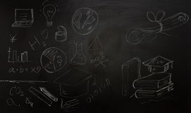 Drawing business concept idea on black board background. Stock Photos