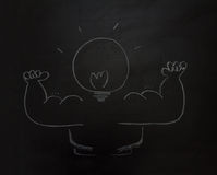 Drawing business concept idea on black board background. Stock Photography