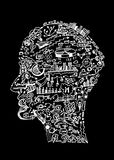 Drawing business concept isolated on black. Drawing business concept in shape of man head Royalty Free Stock Photos