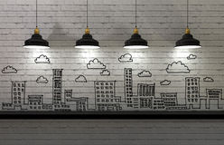 Drawing business concept on wall, city skyline Royalty Free Stock Image