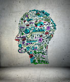 Drawing business concept on wall. Business drawing in shape of man head Stock Images