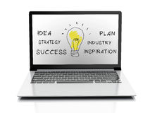 Drawing business and 3d laptop. success concept. Image of drawing business concept on laptop pc isolated white background Stock Image