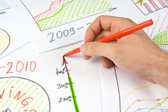 Drawing business diagram Stock Photography