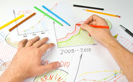 Drawing business diagram Stock Image