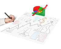 Drawing business doodles with 3d chart. Isolated in white Stock Image