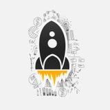 Drawing business formulas. rocket Stock Photography