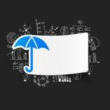 Drawing business formulas. umbrella Royalty Free Stock Photos