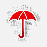 Drawing business formulas. umbrella Stock Images