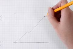 Drawing business graph on graph paper. Human hand drawing business graph with a pencil on graph paper Royalty Free Stock Images
