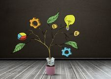 Drawing of Business graphics on plant branches in pot. Digital composite of Drawing of Business graphics on plant branches in pot Royalty Free Stock Images