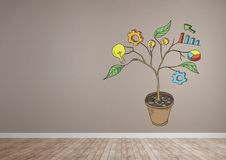 Drawing of Business graphics on plant branches on wall. Digital composite of Drawing of Business graphics on plant branches on wall Stock Photos