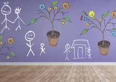 Drawing of Business graphics on plant branches on wall with family drawings. Digital composite of Drawing of Business graphics on plant branches on wall with Royalty Free Stock Images