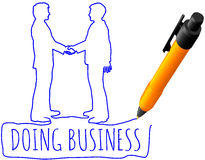 Drawing business people handshake deal Royalty Free Stock Photos