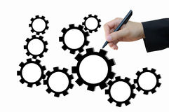 Drawing business plan by gear for successful concept Royalty Free Stock Photo