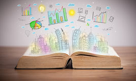 Drawing of a business scheme on an opened book Royalty Free Stock Photography