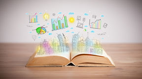 Drawing of a business scheme on an opened book Stock Image