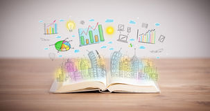 Drawing of a business scheme on an opened book Royalty Free Stock Image