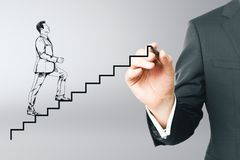 Drawing businessman running up abstract ladder stock photography