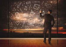 Drawing businessman with social media icon background Stock Photography