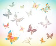 Drawing with butterflies Royalty Free Stock Images