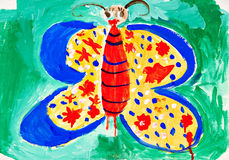 Drawing of the butterfly. Children's multi-coloured drawing of the butterfly royalty free stock photo