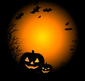Drawing By Day Halloween With A Pumpkin Royalty Free Stock Images