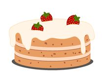 Drawing cake with strawberries Royalty Free Stock Photo