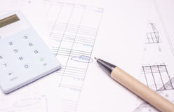 Drawing calculation investment project Stock Photos