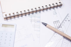 Drawing calculation investment project Stock Photo