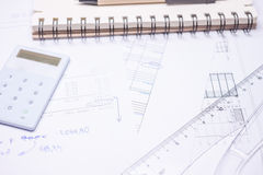 Drawing calculation investment project Stock Image