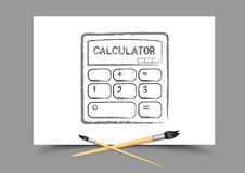 Drawing calculator on white paper Royalty Free Stock Photography