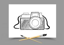 Drawing camera on white paper Royalty Free Stock Images