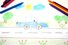 Drawing of a car. With assorted colors royalty free stock photo