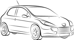 Drawing of the car,  Royalty Free Stock Photo