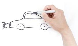 Drawing a car.