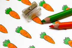 Drawing with carrots Royalty Free Stock Images