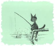 The cat is fishing. Drawing a cartoon cat sitting on the dock, he catches fish with a fishing rod Royalty Free Stock Photography