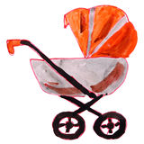 Drawing cartoon children watercolor stroller on a Royalty Free Stock Photos