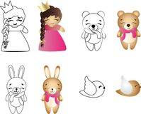 Cartoon cute toy baby girl, bear, bunny and bird. Drawing of a cartoon cute toy baby girl, bear, bunny and bird - in color and line art Royalty Free Stock Photos