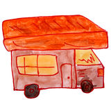 Drawing cartoon kids watercolor motorhome on white. Drawing cartoon kids watercolor motorhome on a white background Stock Photo